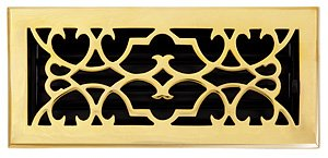 - Brass Elegans 120D PLB Solid Cast Brass Victorian 4-Inch by 10-Inch Floor Register, Polished Brass Finish Model