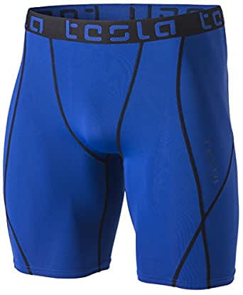 Tesla Men's Compression Shorts Baselayer Cool Dry Sports Tights MUS17-BLU