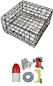 KUFA Vinyl Coated Crab Trap & Accessory kit (100' Lead core Sinking line,Clipper,Harness,Bait Bag &