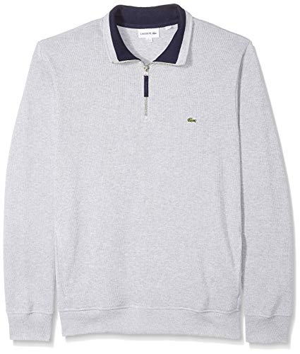 Lacoste Men's Flat Ribbed Zippered Stand-Up Collar Sweatshirt, Silver Chine/Navy Blue, XX-Large