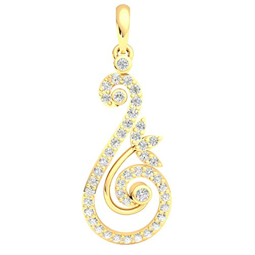 14k Yellow Gold Spiral Drop Pendant For Women 0.5 Cttw Round Real Diamond (HI Color, I1 Clarity) Bezel Set ()