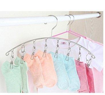Percha de ropa con 8 clips para secar calcetines, ropa de ...