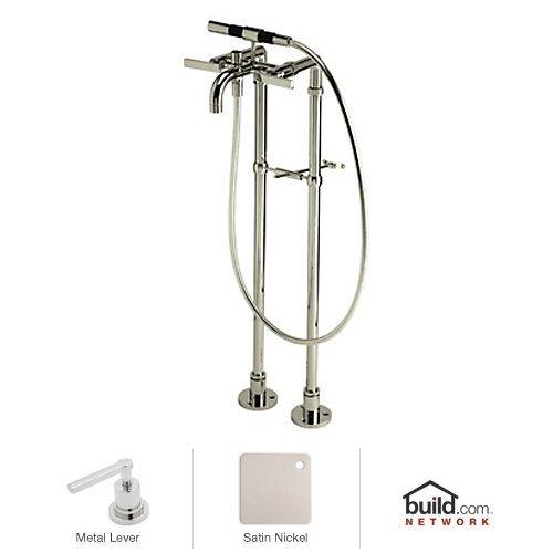 Rohl BA420L-STN Modern Floor Mount Exposed Tub Filler Faucet with Floor Legs & Hand, Satin Nickel ()
