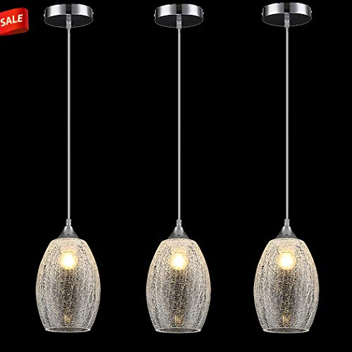 Lutriva Home 3 Pack Contemporary Indoor Mini Pendant Lighting, Decorative Clear Crackle Glass Shade Pendant Lighting Fixture with Ajustable Cord