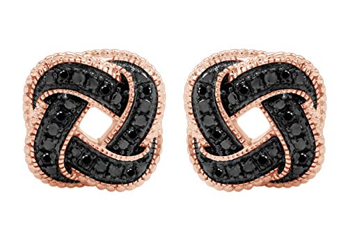 Aria Jewels Black Diamond Accent Love Knot Stud Earrings in 14K Rose Gold Over Sterling Silver For Women (1/10cttw)