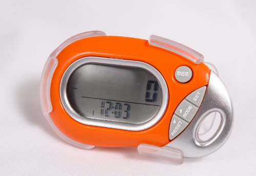 Pedusa PE-771 Tri-Axis Multi-Function Pocket Pedometer (Orange with Holster/B...