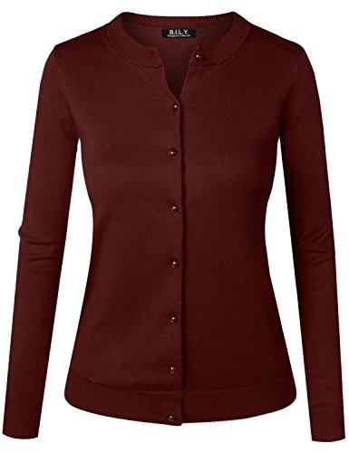 BILY Women's Unique Button Long Sleeve Soft Knit Cardigan Sweater Burgundy Medium - Burgundy Cardigan Sweater