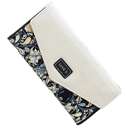 SeptCity Womens Wallet Floral Leather Western Bifold Clutch, 4021-Black