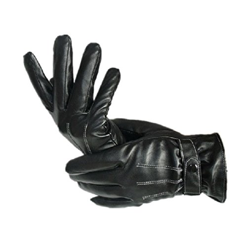 Perman Mens Luxurious PU Leather Winter Super Driving Warm Gloves Cashmere Vogue by Perman (Image #2)