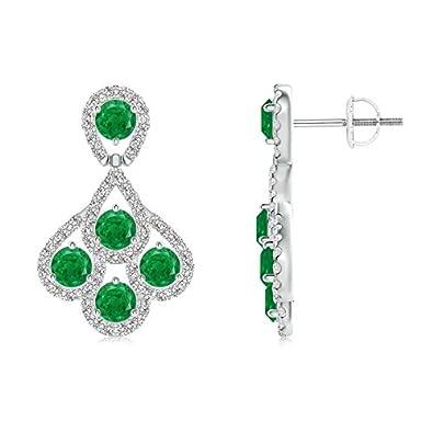 Angara Dangling Emerald Earrings with Diamond Border in Platinum s89yRq