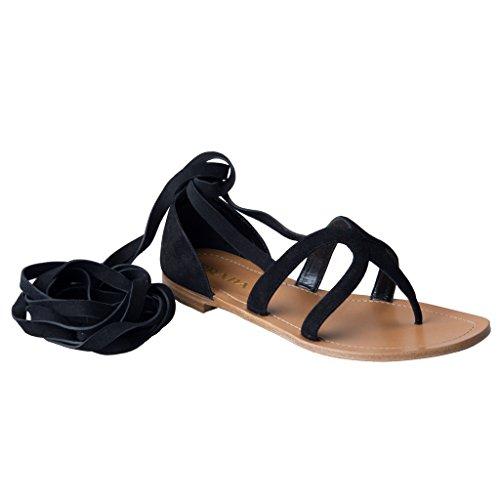 Prada Women's Black Suede Leather Wrap Around Gladiator Sandals Shoes US 6.5 IT 36.5; ()