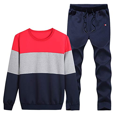 Sunhusing Men's Winter Round Neck Splicing Long Sleeve Pants Set Baseball Uniform Sports Suit -