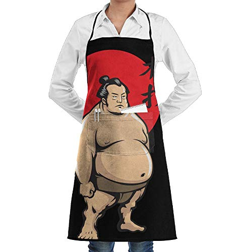 SARA NELL Grill Aprons Kitchen Chef Bib Japan Sumo Kitchen Cooking Aprons with 2 Pockets for Women and Men-Adjustable Neck Strap Apron-Extra Long Ties