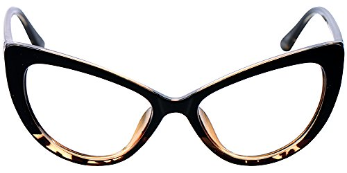 SOOLALA Womens Oversized Fashion Cat Eye Eyeglasses Frame Large Reading Glasses (Leopard, ()