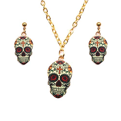 Cleacloud Dangle Drop Skull Cool Stud Earrings Necklace Set Women Halloween Vintage Colors Enamel Pattern Costume Girl Resin Charms Jewelry ()