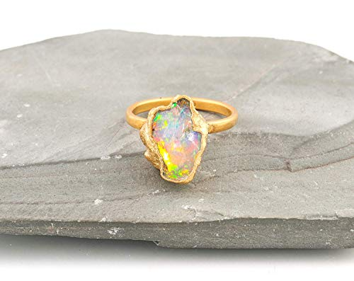 Raw Opal Gemstone Crystal Ring Jewellery For Mother, Opal Welo Rock, Opal Rough, Electroformed Rings, October Birthstone Size 7