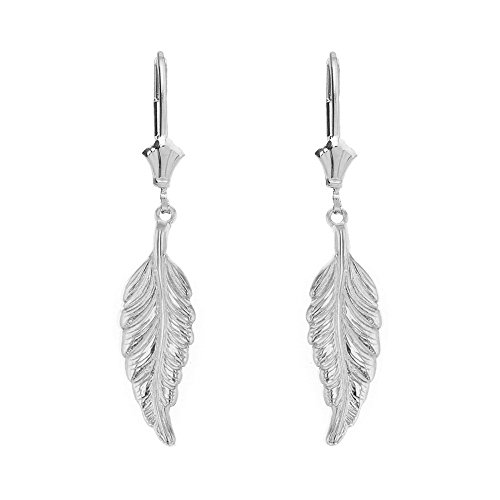 14k Gold Leaf Earrings - Solid 14k White Gold Bohemia Leaf Feather Dangle Earrings