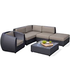 CorLiving PPS-603-Z Seattle Curved 6 Piece Sectional with Chaise Lounge and Chair Patio Set