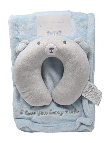 Minky Cozy Baby Blanket with Travel Animal Face U-Pillow Unisex Options Baby Swaddling Receiving Stroller Blanket (Blue - Travel Blanket Bear