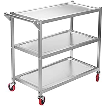 This Item OrangeA Utility Cart 3 Shelf Utility Cart On Wheels 330Lbs  Stainless Steel Cart Commercial Bus Cart Kitchen Food Catering Rolling  Dolly (3 Shelf ...