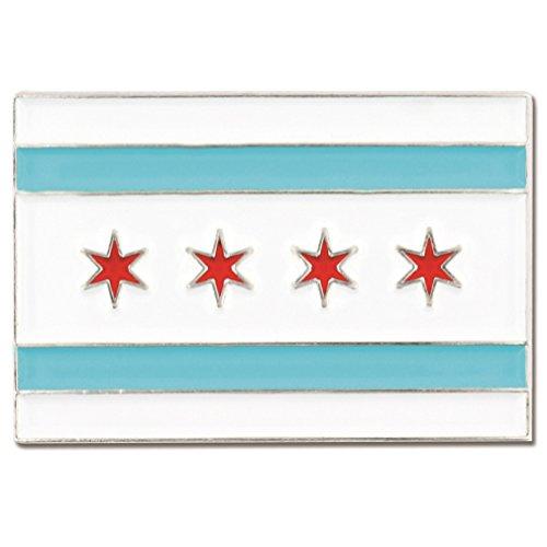 PinMart Rectangle City of Chicago Flag Enamel Lapel Pin