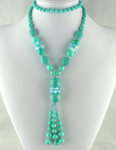 Luxury Fashion HEAVENLY Tibet Turquoise Crystal Bead Long GIFT NECKLACE . .. from Hibiscus Express