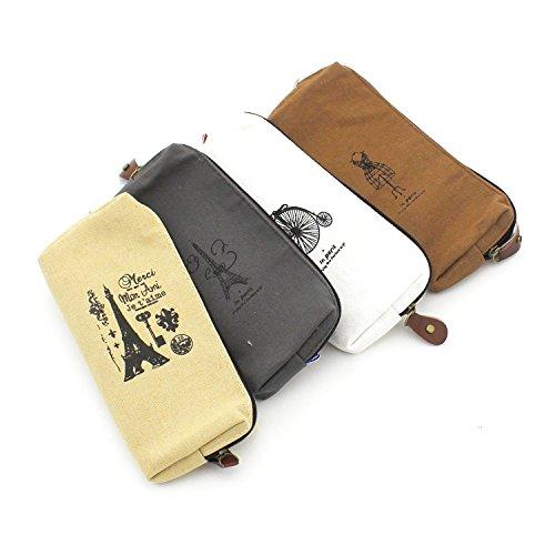 Zicome 4 Pack Paris Theme Canvas Pen Pencil Case Coin Purse Pouch Cosmetic Makeup Bag
