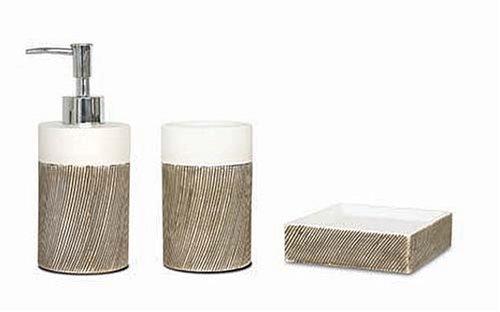 ceramicwood bathroom accessories set whitenatural brown