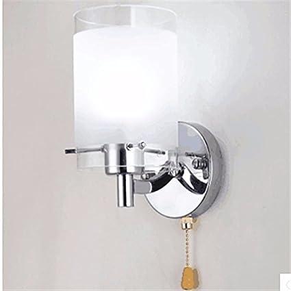 Lámparas de pared de vidrio aplique Hoteles Hotel Casa Dormitorio Salón Pasillo, 30-60, blanco con interruptor Pull-Wire blanco cálido [Clase de eficiencia energética A+] Wall lamp