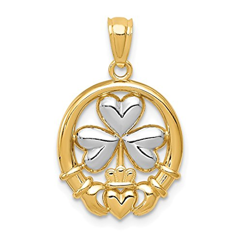 14k Yellow Gold Irish Claddagh Celtic Knot Shamrock Pendant Charm Necklace Fine Jewelry For Women Gift Set (Gold Yellow Cat Charm)