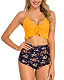 Coskaka Women Two Pieces High Waisted Ruffle Bikini Set Printed Swimwear Bathing Suit Junior Bikini Swimsuits for Teen Girls Yellow Flower XS