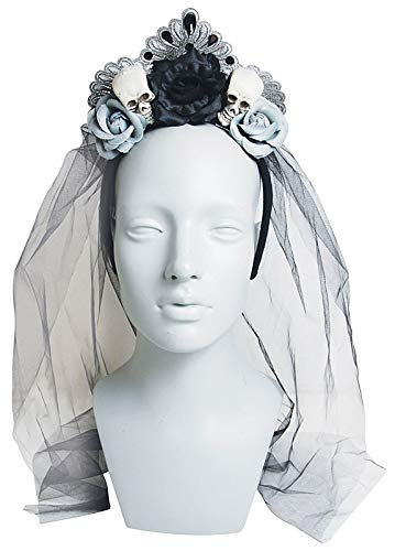 Gothic Halloween Headband with Skulls, Roses, and Black Veil, 21 5/8 Inch -