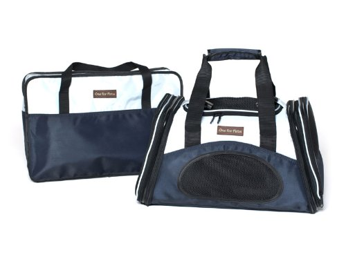 One for Pets The One Bag Expandable Pet Carrier, Large, Navy - Car & Luggage Fixture Included by One for Pets (Image #6)