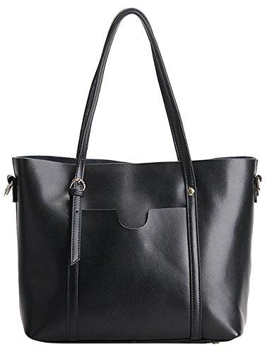 Menschwear Damen Echtes Leder Handtasche Elegant Taschen Gelb Schwarz 4Uzygg
