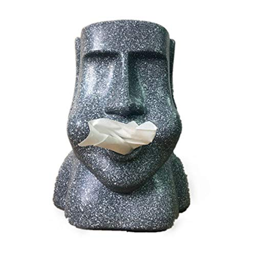 (NBLWY Tissue Box Cover Stereoscopic Tissue Tube Paper Towel Fit Rectangular Paper Box for Office Kitchen Bath Living (Easter Island Stone Man))