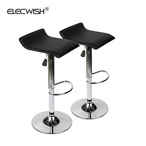 Elecwish Set of 2 Home Adjustable Swivel Barstool Backless Armless Chrome Faux Leather Short Counter Contemporary Modern SGS Gas Lift 250 lbs (Balck, Backless-S)