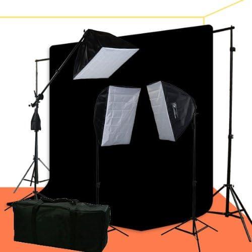 ePhoto 2400 Watt Photo Video Portrait Lighting Kit with Black Muslin Background Support Stands Case H9004SB269B