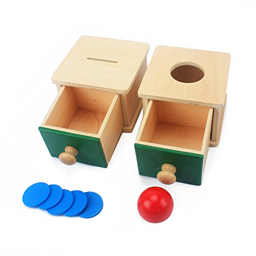 QLL 2 Box Infant & Todders Montessori Kids Toy Baby Wooden Coin Box Piggy Bank & Wooden Ball Matching Box Learning Educational