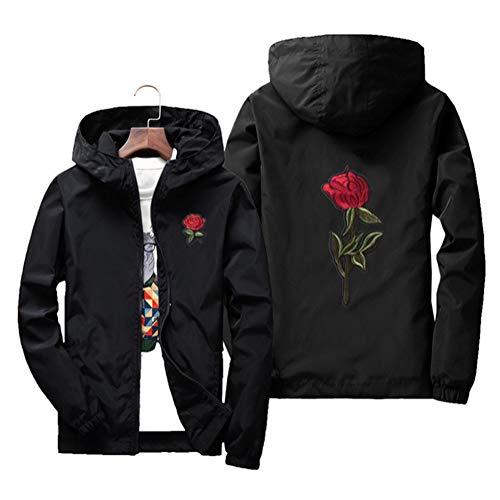(Sunisery Men's Women Casual Hooded Jacket Windbreaker Embroidery Rose Spring Fall Streetwear College Style (XXXL, Black))