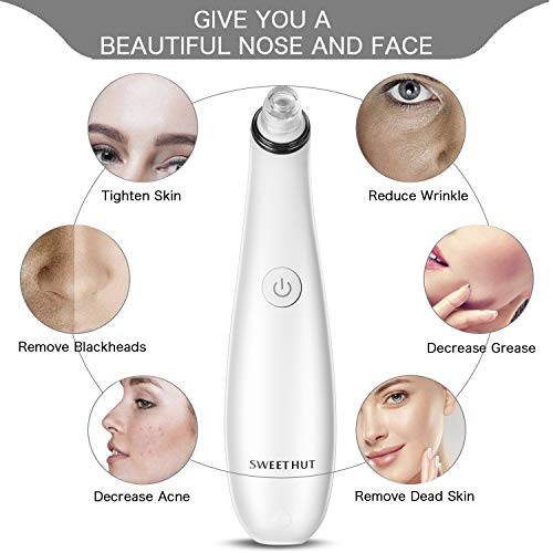 Blackhead Remover Facial Pore Vacuum Pore Cleaner with 4 Changeable Functional Probes Rechargeable Blackhead Suction Extractor Tool