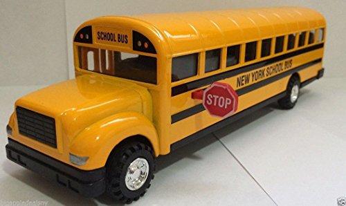 MK Large 8.5 inch NEW YORK CITY NYC Yellow School Bus DieCast Toy Car Model