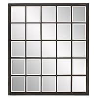 "Howard Elliott Collection Superior Window Mirror, Hanging Rectangular Wall Mirror, 38"" H x 34"" W x 1"" D, Bronze"