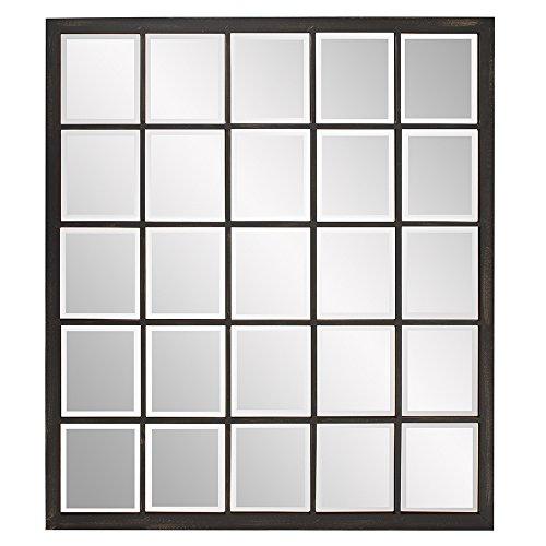 Howard Elliott Superior Hanging Rectangular Window Wall Mirror, Accent, Bronze, 34 x -