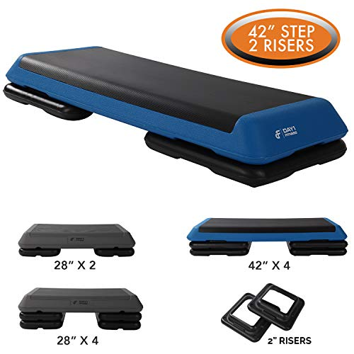 Aerobic Exercise Step Platform by Day 1 Fitness 6 OPTIONS – 28in CIRCUIT SIZE STEP or 42in HEALTH CLUB SIZE with 2 or 4 RISERS, or ADDITIONAL RISERS – Non-Slip and Shock Absorbing Surface