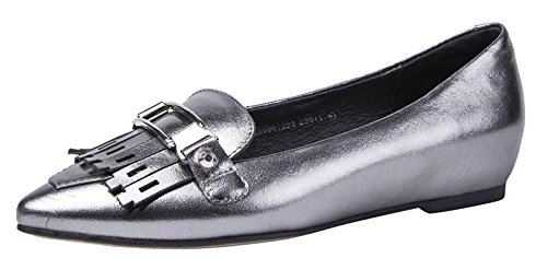 CAIHEE Women's Fashion Pointed Toe Tassels Casual Loafers Increased Heel Shoes(7.5 B(M)US,grey) (7.5 B(M)US, - Shades Guess Price
