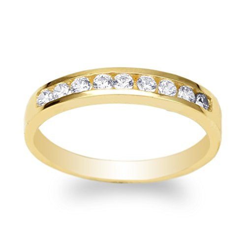 llow Gold Plated Round CZ Simple Wedding Channel Band Ring Size 6.5 ()