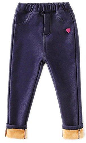COLINNA Girl's Cute Knitted Denim Fleece Lined Elastic Waist Stretchy Leggings (Girls Fleece Lined Jeans)