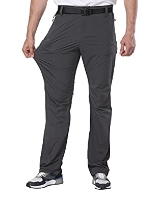MIERSPORTS Men's Hiking Pants Lightweight Tactical Cargo Pants, Quick Dry, Elastic Waistband, 5 Pockets