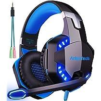 ゲーミングヘッドセット マイク付き ArkarTech G2000 PCゲーム用ヘッドホン ステレオ ヘッドアーム伸縮可能 LED付属 PC Switch PS4 Xbox One MAC Skype対応