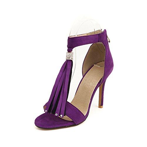 Women's Sexy High Heel Sandal - Summer Open Toe Tassel Ankle Boots - Back Zipper Party Dress (Purple Open Toe Platform)